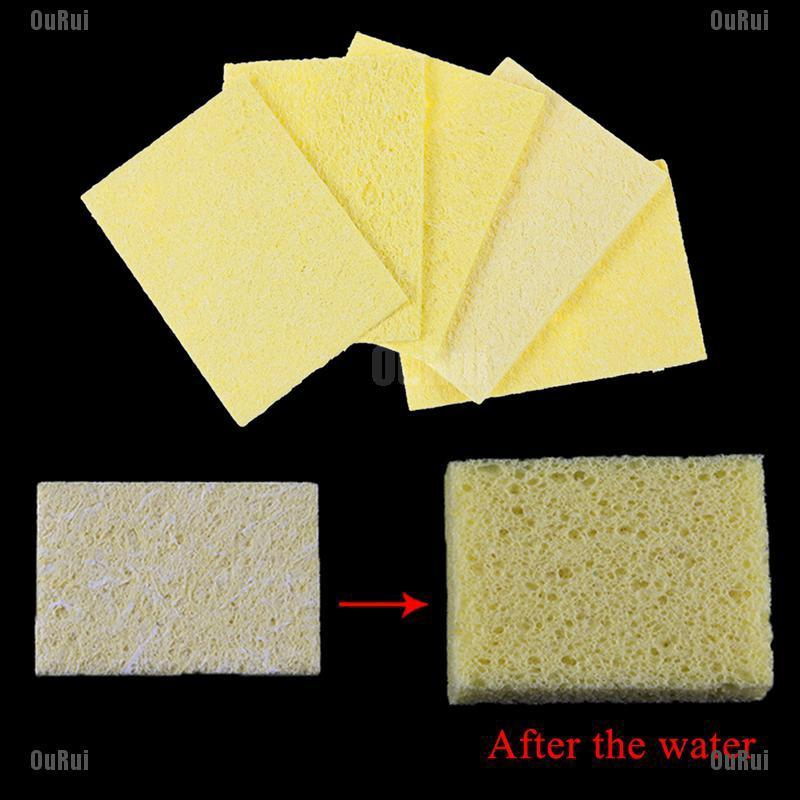Enduring Pads Scouring  Soldering Iron Yellow Electric Welding Cleaning Sponge