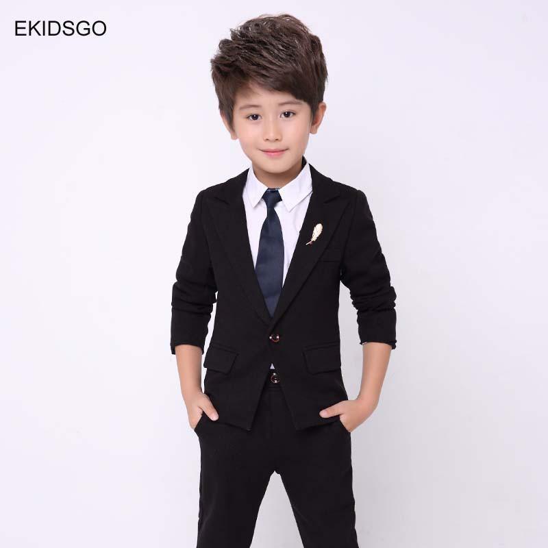 Size 2T-14 Wedding Tie Boys Solid Black Vest Suit Set with Colored Dress Shirt