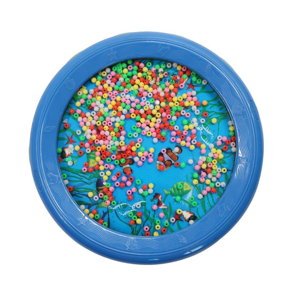 Baby Toddler Ocean Wave Bead Drum Gentle Sea Sound Musical Educational Toy Tool