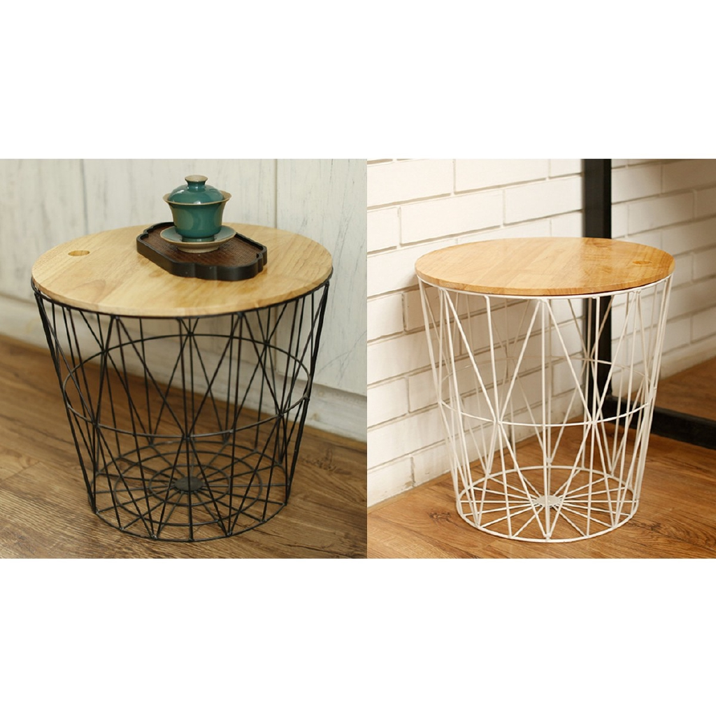 Picture of: White Black Metal Wire Basket Wooden Top Side Table Storage Shopee Philippines