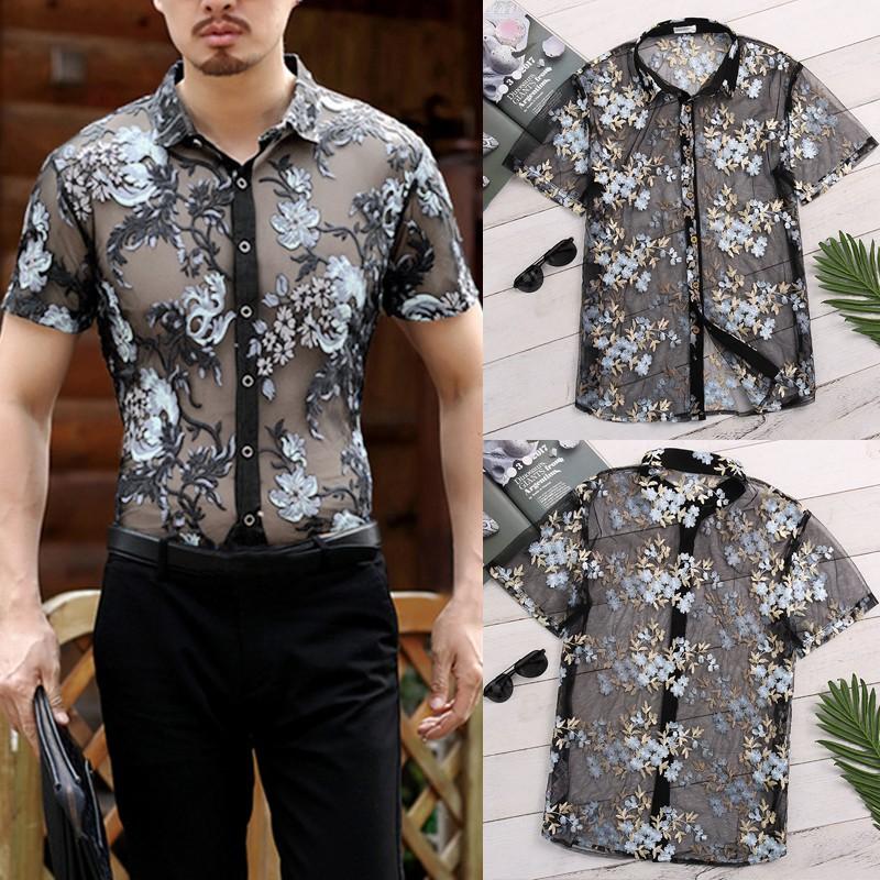 Men's See Through Floral Mesh T Shirt Top Tee Party Clubwear