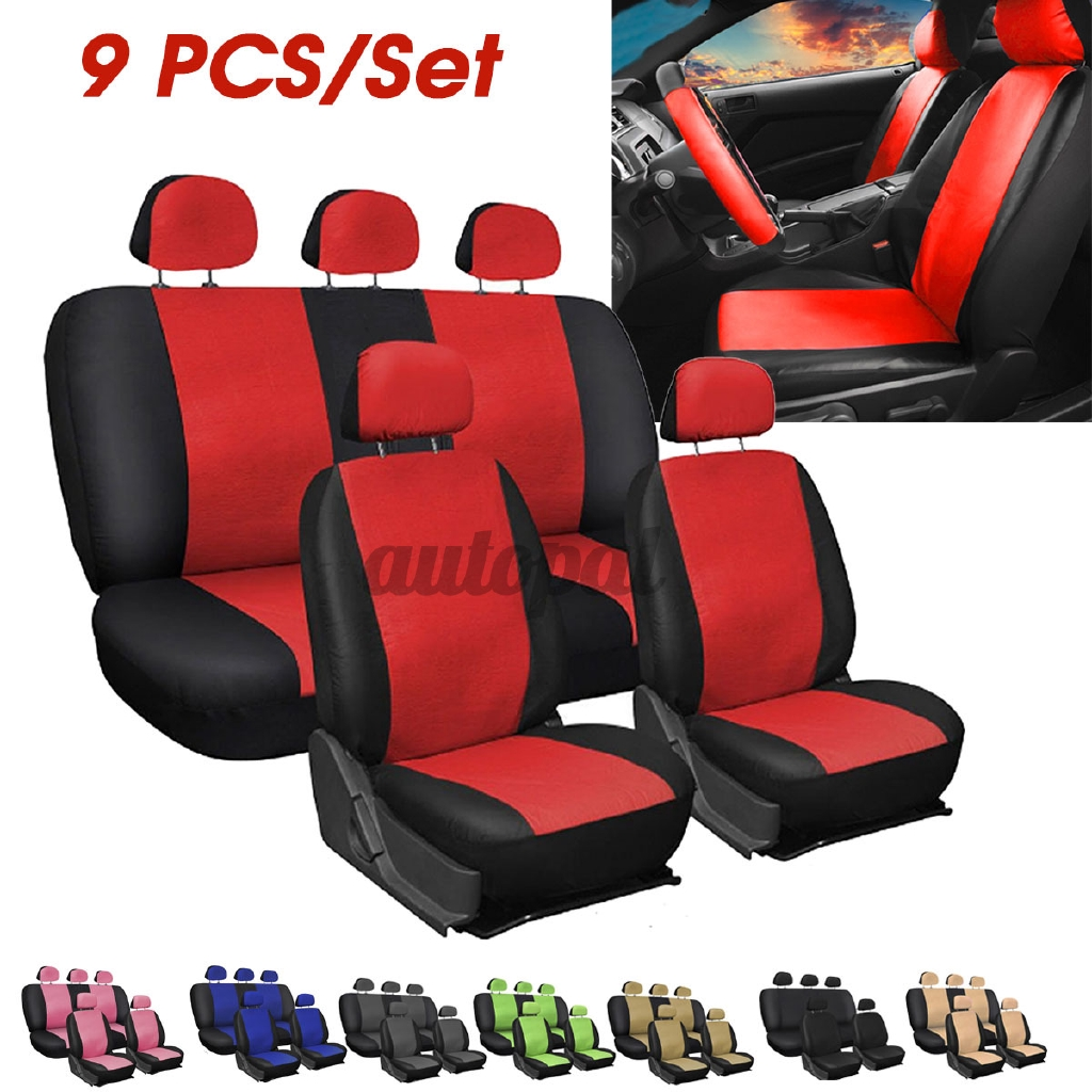 9pcs Pu Leather Car Seat Detachable Covers Front Bucket Full Set Protector Shopee Philippines