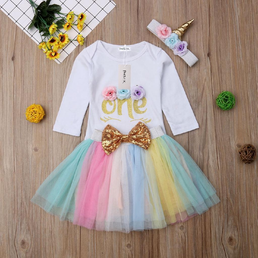 Girls Satin Trimmed Tutu /& Shiny Flower Unicorn Headband 2pcs Costume Outfit
