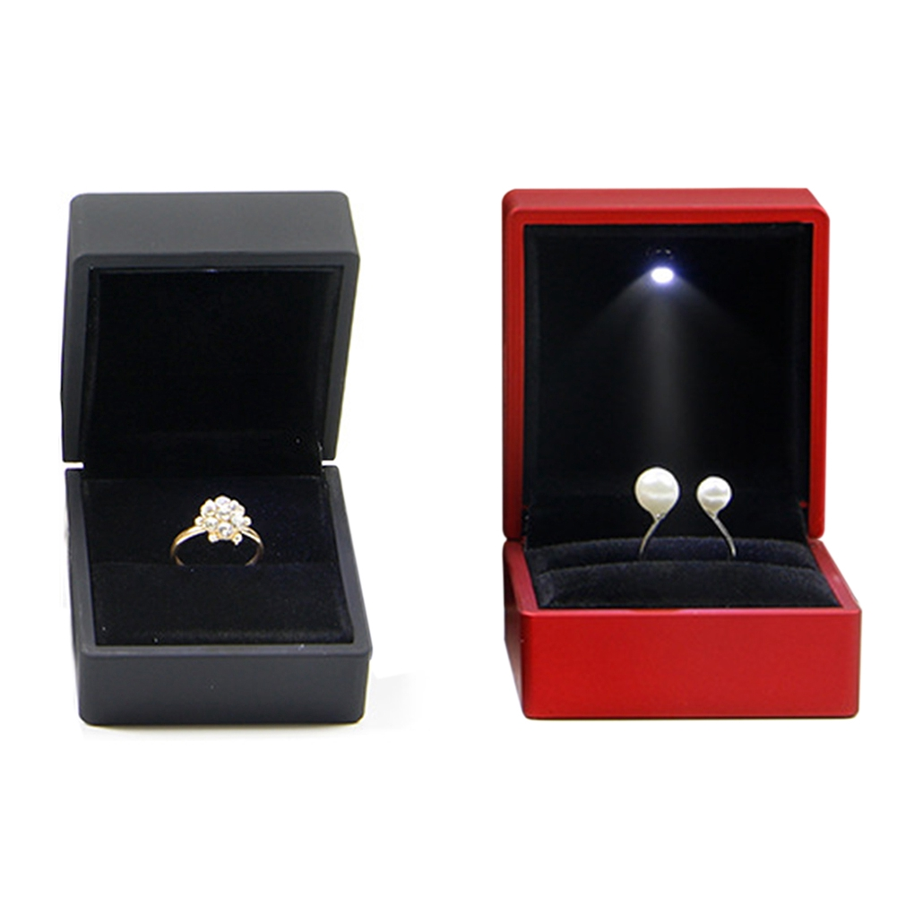 LED Lighted Earring Ring Gift Box Wedding Jewelry Display Storage EngagementSG