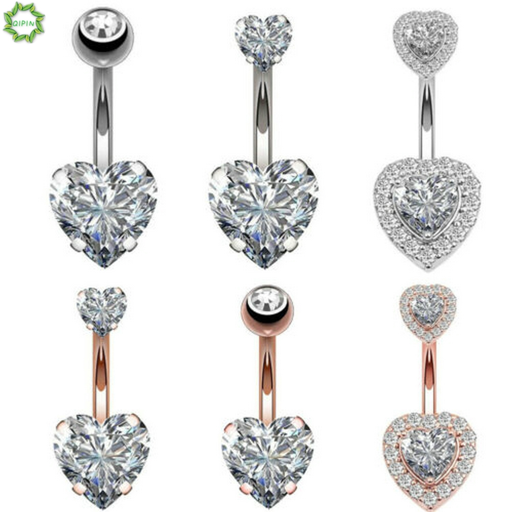 1pcs Heart Body Piercing Kit Belly Button Bar Barbell Navel Ring Surgical Steel