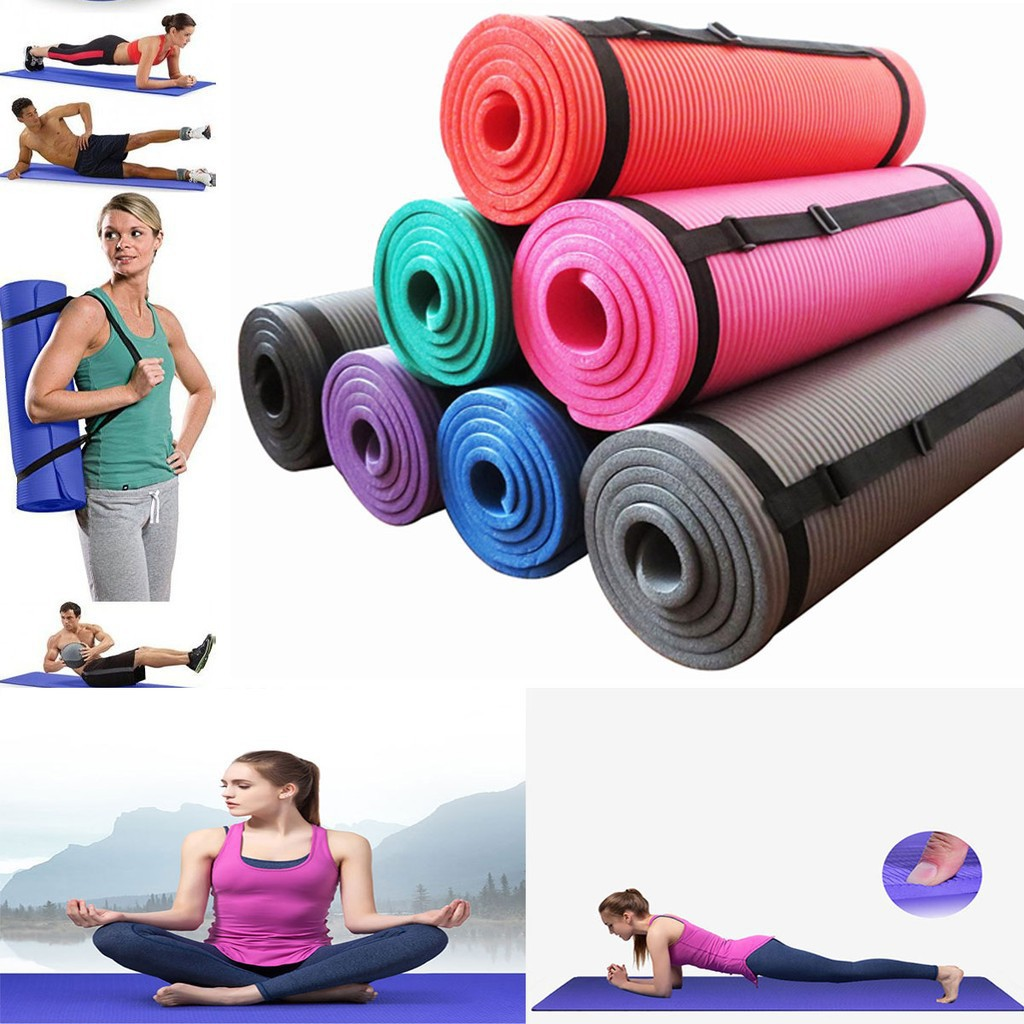 Yoga Mat Extra Thick Exercise With Carrying Strap