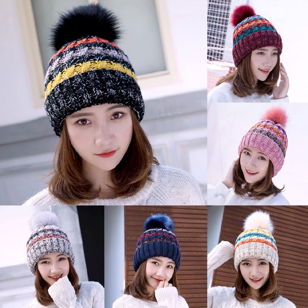 8c57cbfa01d343 Women Pompom Knitted Ball Warm Plain Winter Beanie Cap Hat | Shopee  Philippines