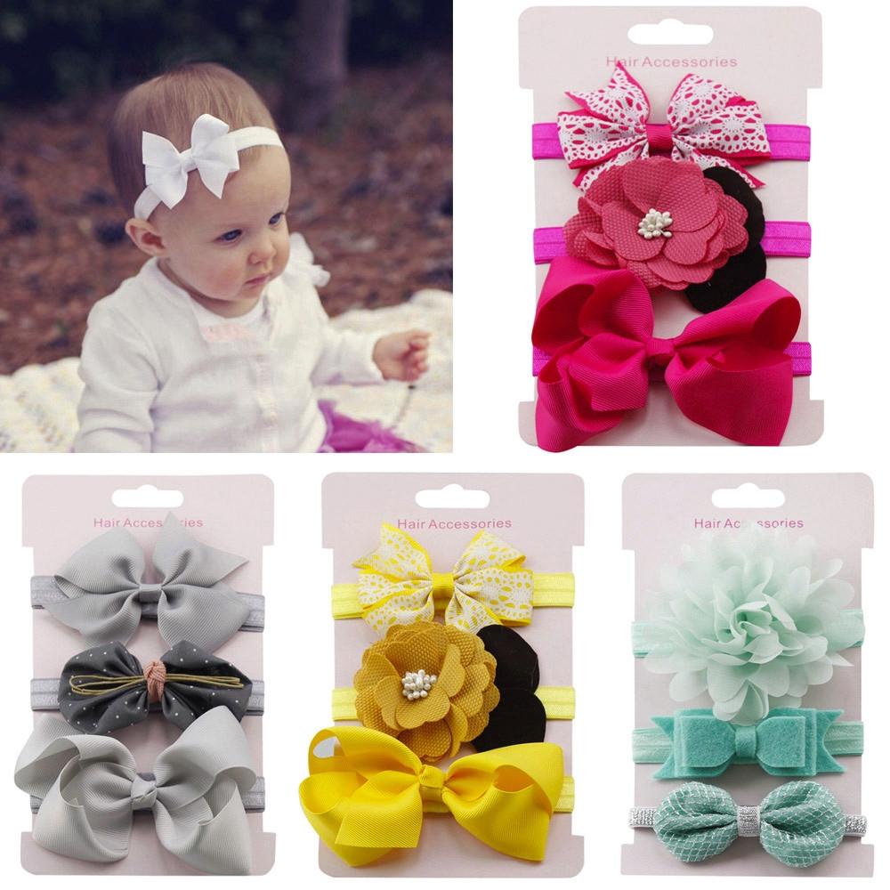 3PCS Kids Girls Elastic Floral Headband Sequins Hair Baby Bowknot Hairband Set