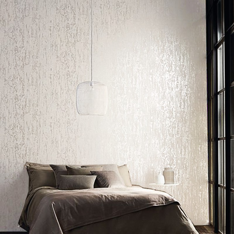 Plain Solid White Wallpaper For Bedroom Walls Thick Embossed Shopee Philippines