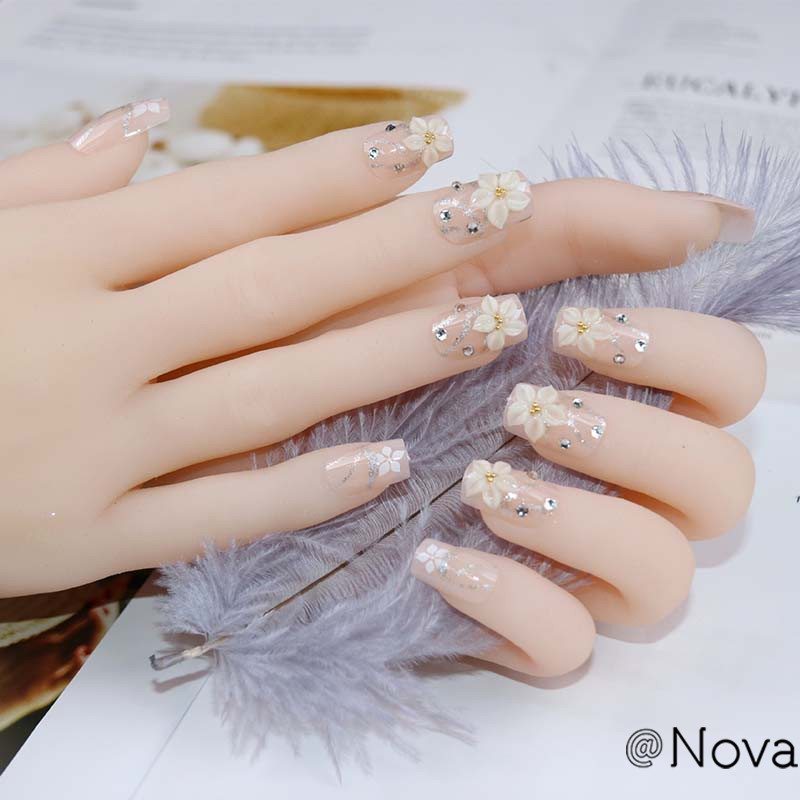 Nova 24 Pcs Long Design Natural Carved Flowers Fake Nails