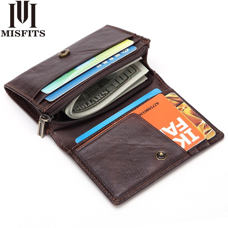 Men/'s RFID Short Wallet Genuine Leather Small Coin Purse Male Credit Card Holder
