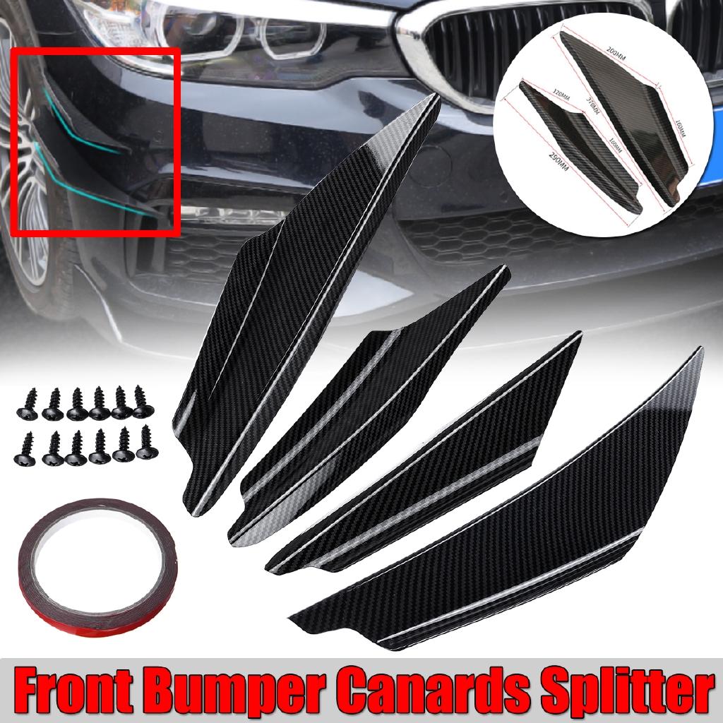 Front Lip Splitter Fins Body Spoiler Bumper Trim Kit 4PCS Universal Carbon Look