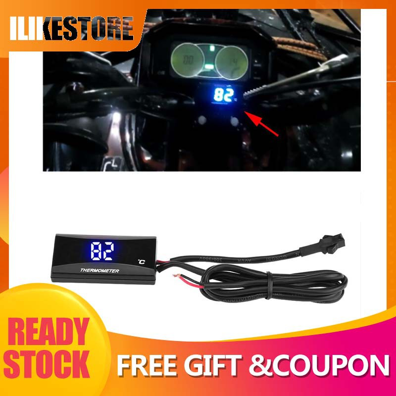 Motorcycle Digital Thermometer Instrument Water Temperature Meter Gauge Motorcycle Thermometer Blue Light