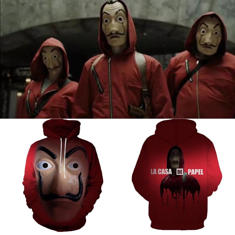 Unisex Hoodie Salvador Dali Mask Hoodie Money Heist House of Cards La Casa  De Papel Hoodies