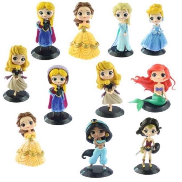 8pc Princess Rapunzel Snow White Belle Aurora MagiClip Doll Figures Playset Kid
