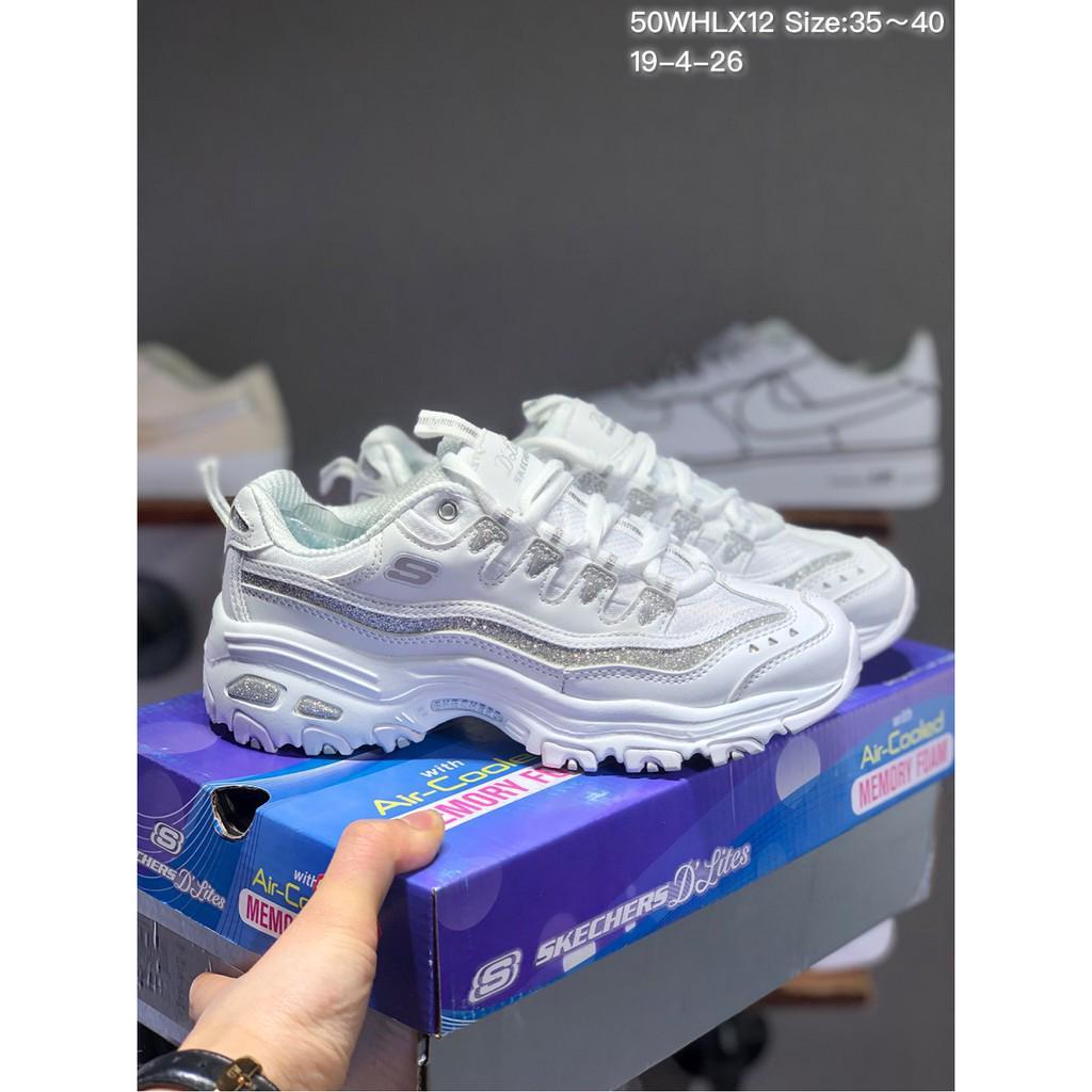 Skechers Women's D'Lites Memory Foam Lace up Sneaker white