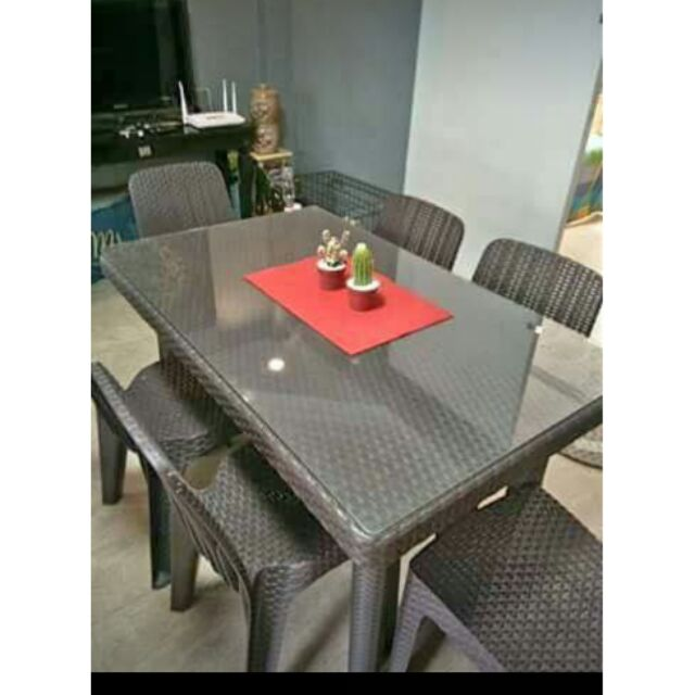 meet 85251 d0a90 4 and 6 seater dining plastic rattan with glass