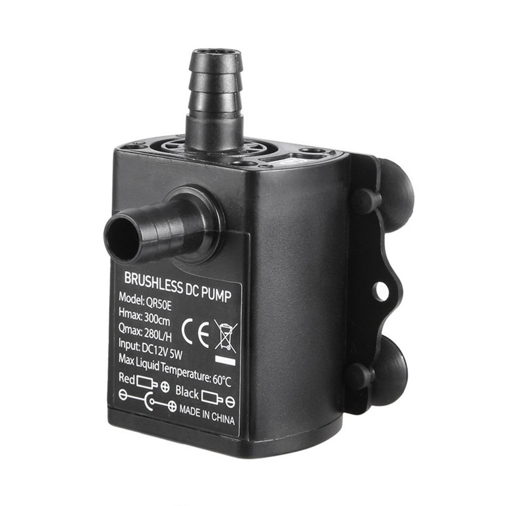 12V DC Brushless Small Water Pump Submersible Motor Pump 280L//H with Female Plug