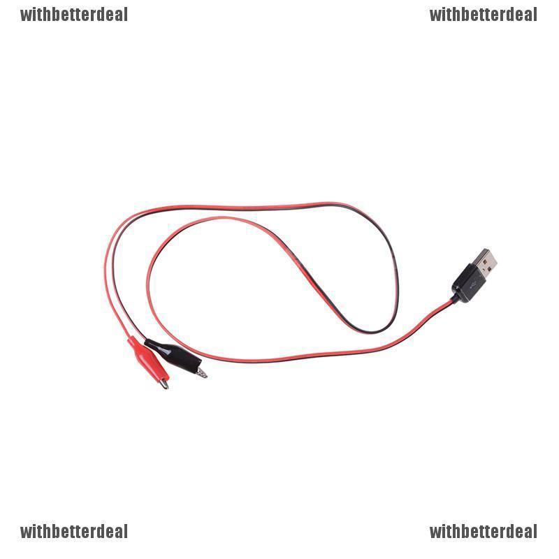 USB Crocodile wire Alligator clips Male of Female to USB tester Voltage Meter LE