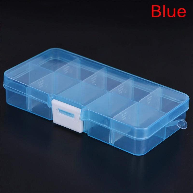 Multicolor Plastic 28 Slots Adjustable Jewelry Storage Box Case Beads Organizer