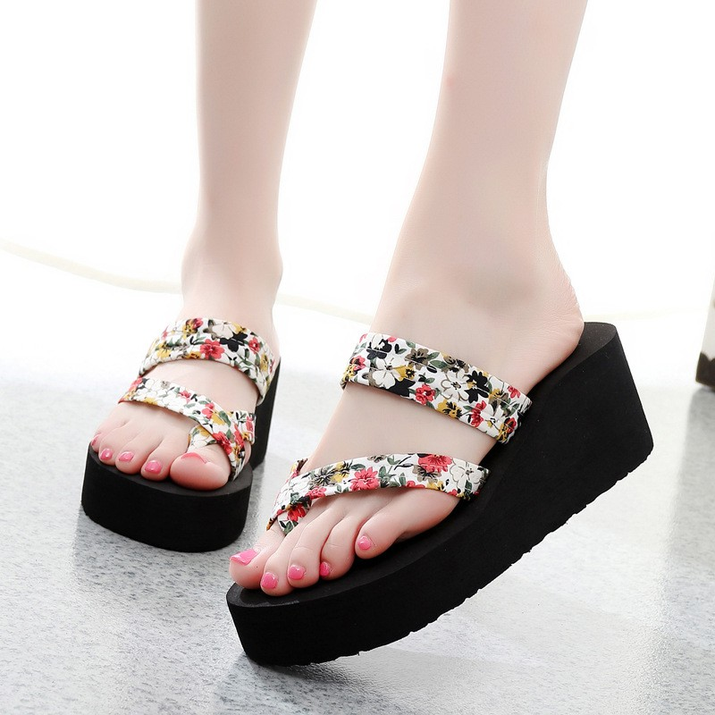 7983cef2399b1 Summer Women Wedge Thick Flip Flops Beach Casual Slippers