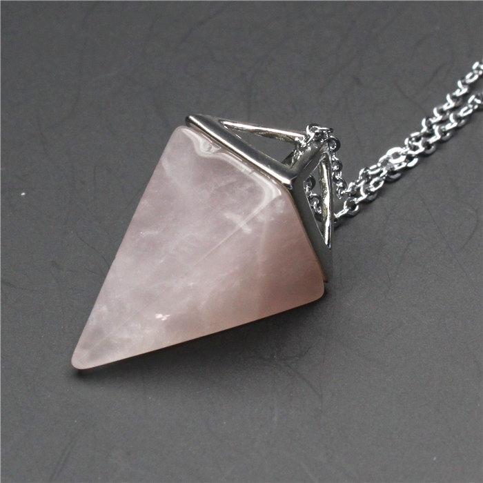 Healing Chakra Gemstone Stone Triangle Pendulum Bead Pendant Charms Fit Necklace
