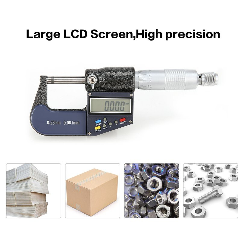 Digital Micrometer 0-25mm 0.001mm Metric//Inch 7 keys Micrometer Caliper Meter on