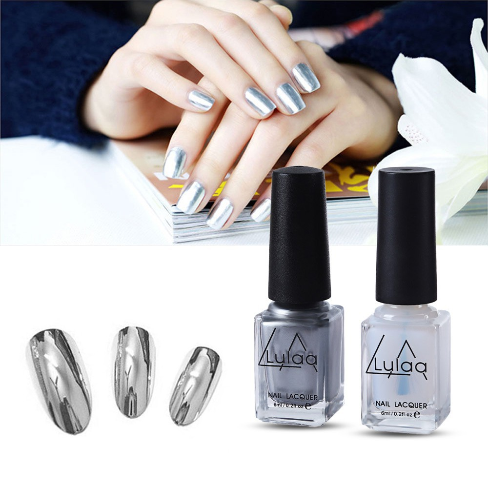 LULAA Nail Polish Top Coat Silver Mirror | Shopee Philippines