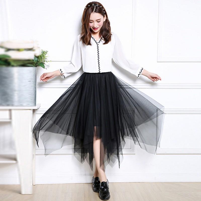 057b0170ee55e1 Summer Women's Retro Irregular Mesh Yarn Layered Midi Skirt   Shopee ...