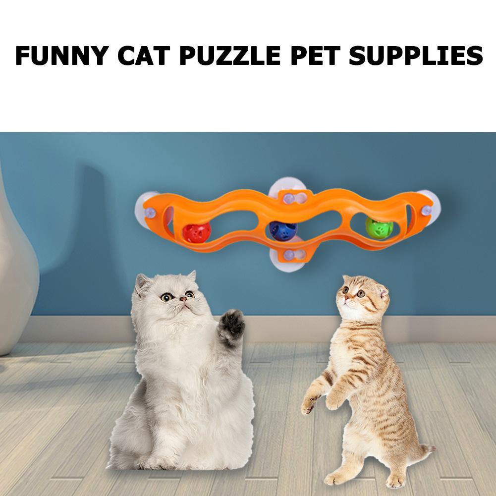 Funny Cat Toys Interactive Track Ball Cat Window Suction Cup Track Ball Pet Toy