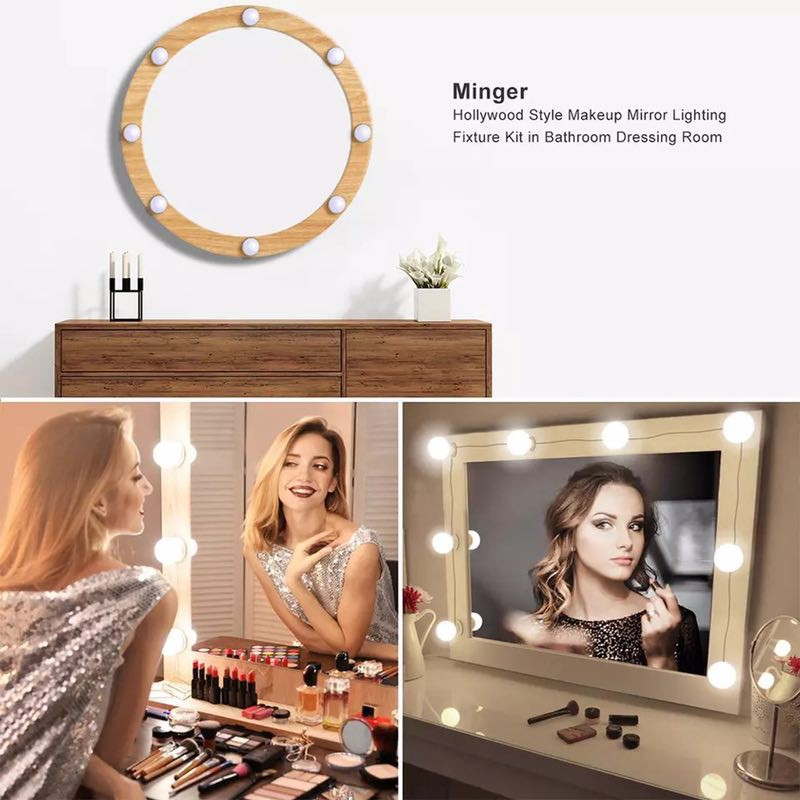 Hollywood Style Led Vanity Mirror Lights Kit With 10 Dimmable Light Bulbs For Makeup Dressing Table