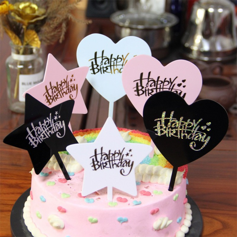 Miraculous Hz 1Pcs Bronzing Happy Birthday Cake Topper Acrylic Love Heart Funny Birthday Cards Online Inifofree Goldxyz