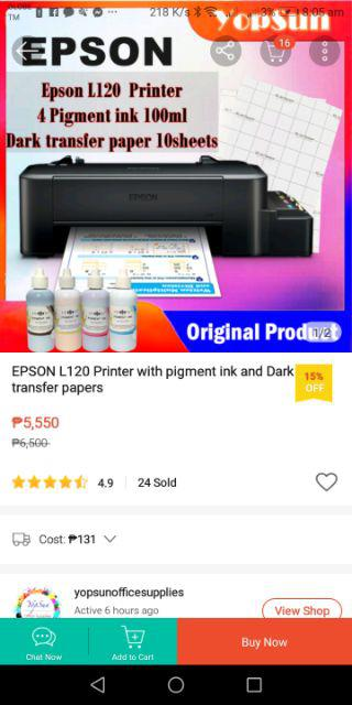 EPSON L120 Printer with pigment ink and Dark transfer papers