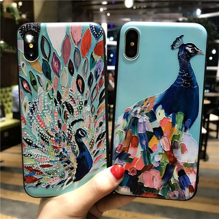 VIVO Y71 V7 Plus Y81 V9 Y91 V11 Emboss Peacock Soft Case GNC