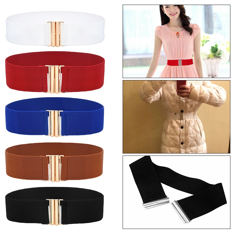 Lady Wide Fashion Waist Belt With Silver Buckle Thick Elasticated Stretch Belts