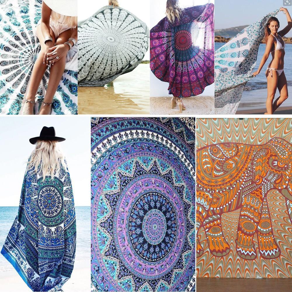 Mandala Square Chiffon Beach Tapestry Hippie Throw Yoga
