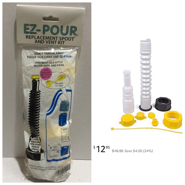 Water Jug Or Gas Can Spout EZ-POUR Replacement Spout Update Your Old Can