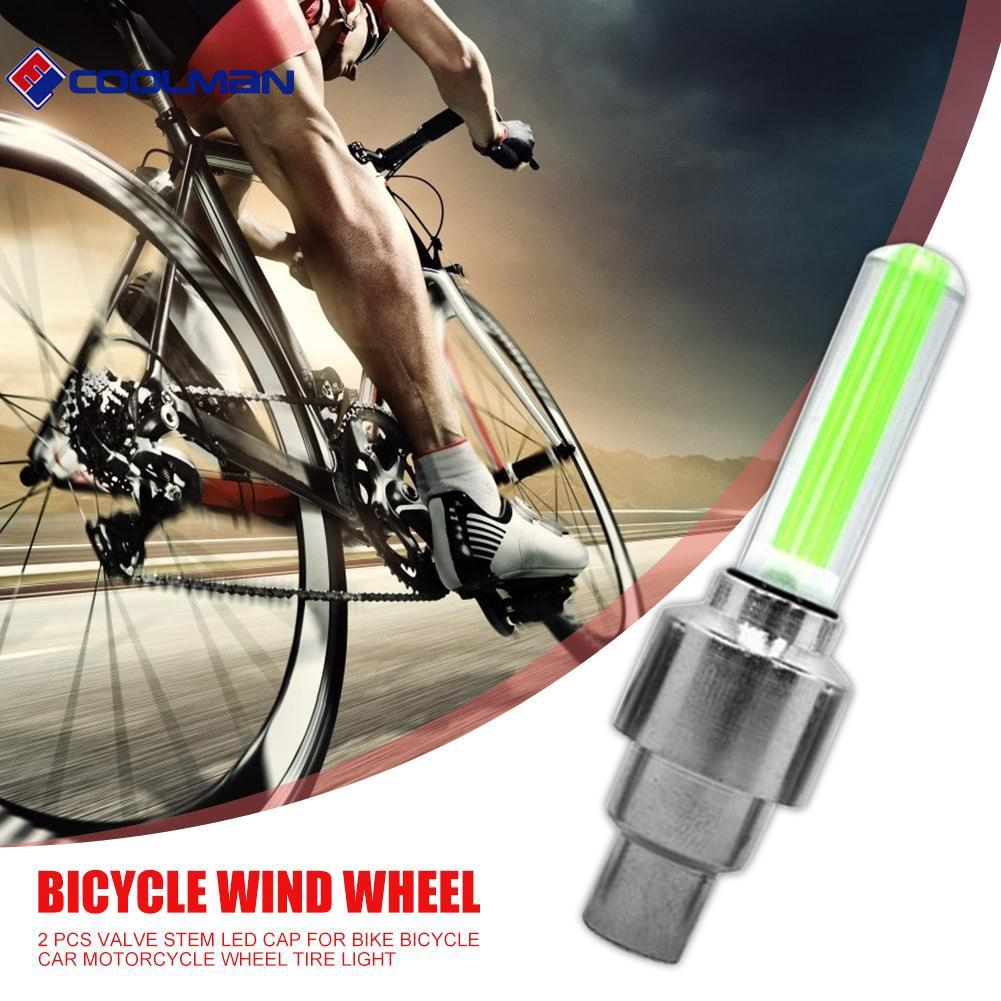 2 Bike Bicycle racing cycling valve stem rim lights NEON LED Glow for Safety