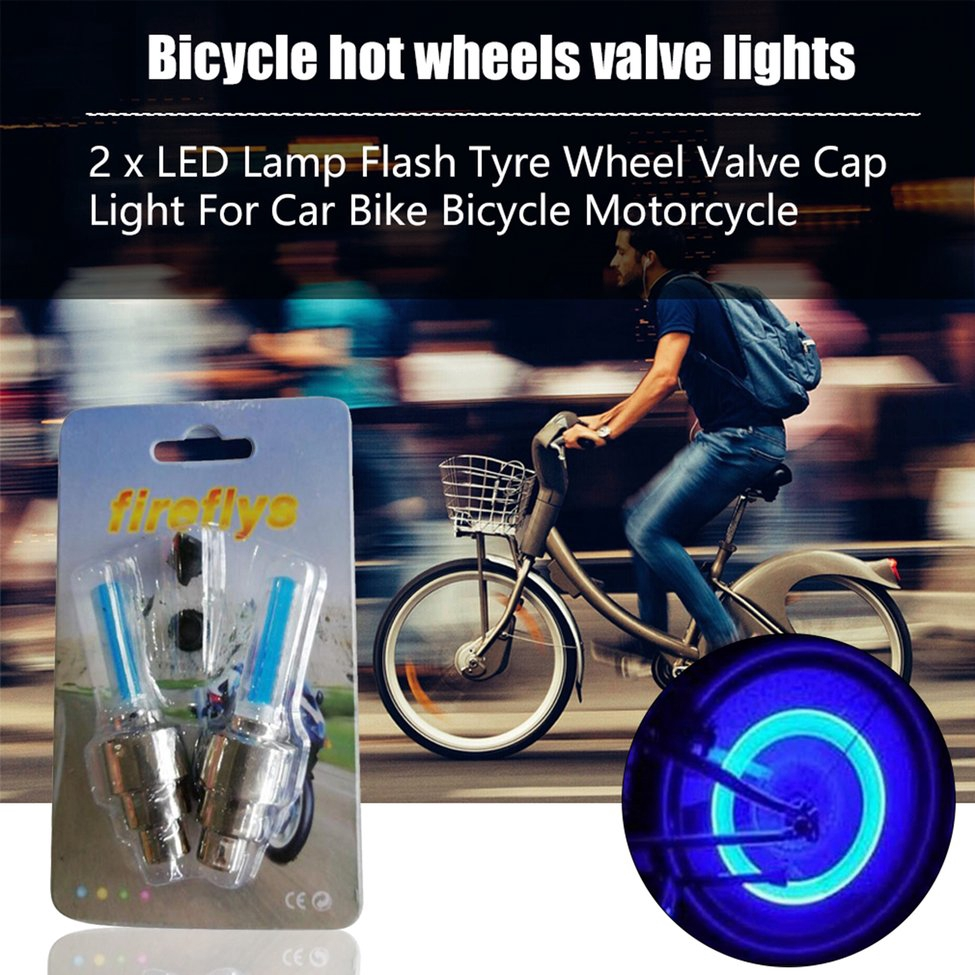 2 x Flash Tyre Wheel Valve Cap Lights LED Lamps for Car Bicycle Motorcycle