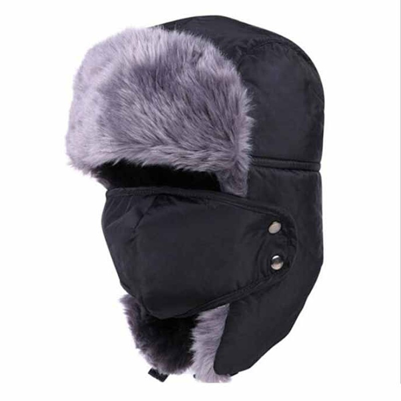6e03de75a Mens Winter Fur Hat Aviator Earflap Ski Hat Cap Trooper For Ski Sports