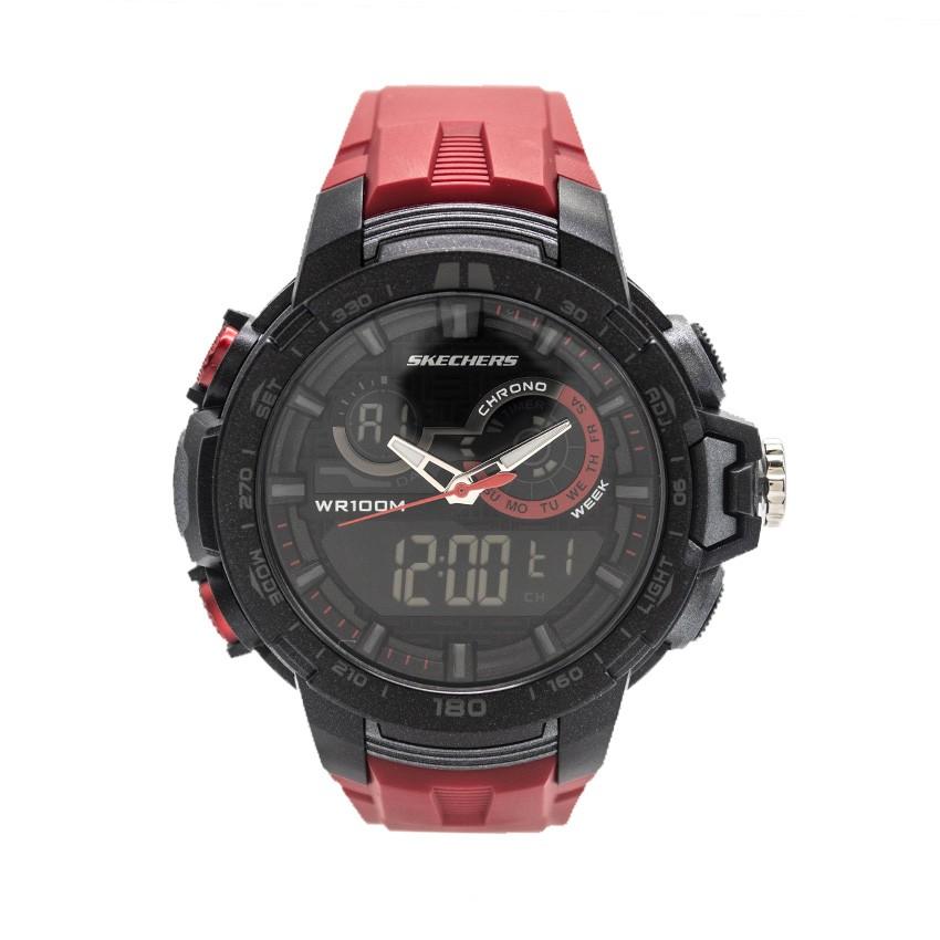 Skechers Time Men's Key Analog & Digital Rubber Strap Watch (Black Gold)