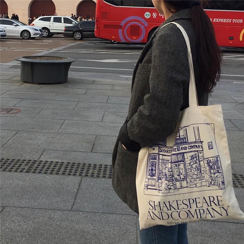 Cod Women Vintage Canvas Tote Bags