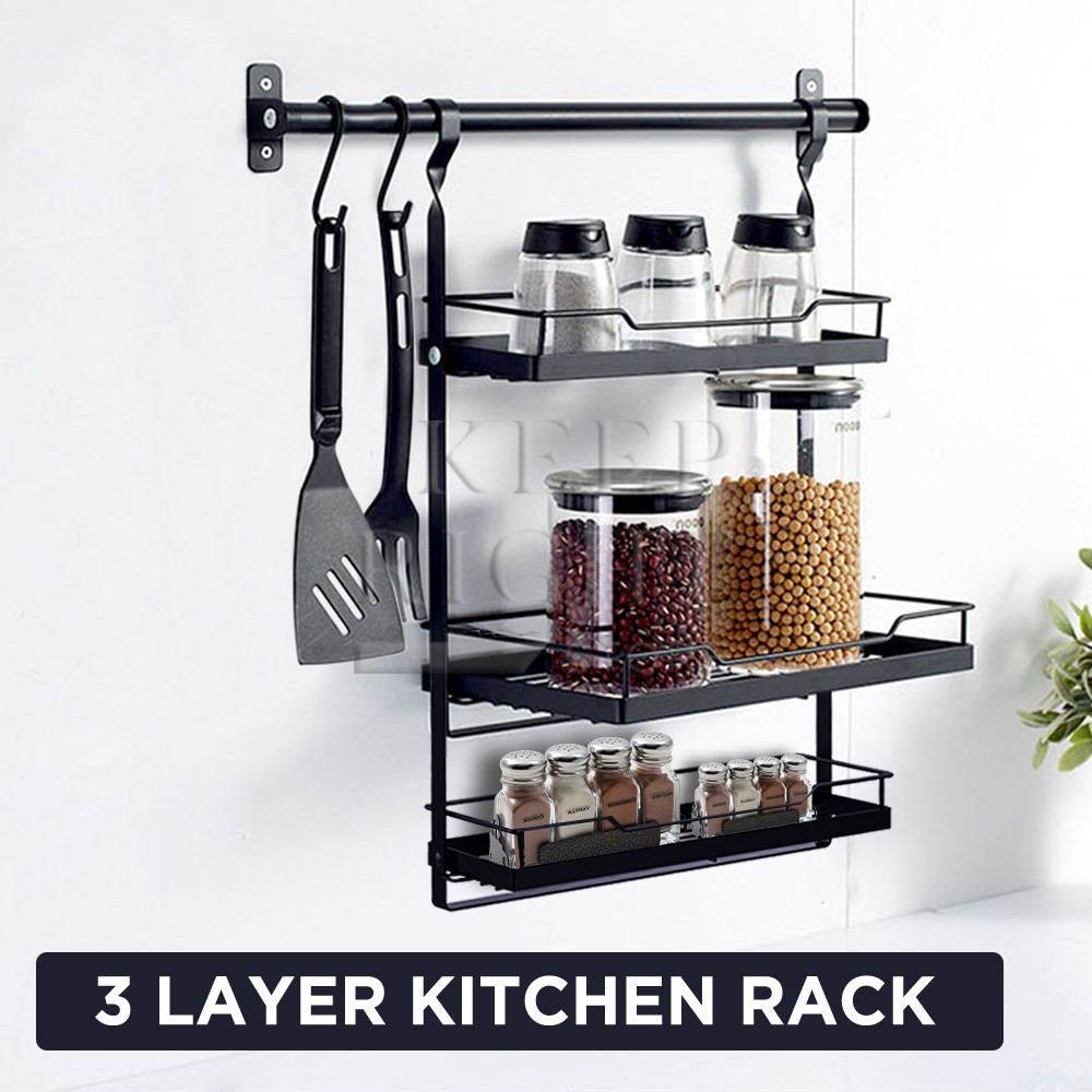 Keep Right Home Accessories Wall Mounted Hanging Kitchen Rack Storage Organizer Shelf W Rod Set Shopee Philippines