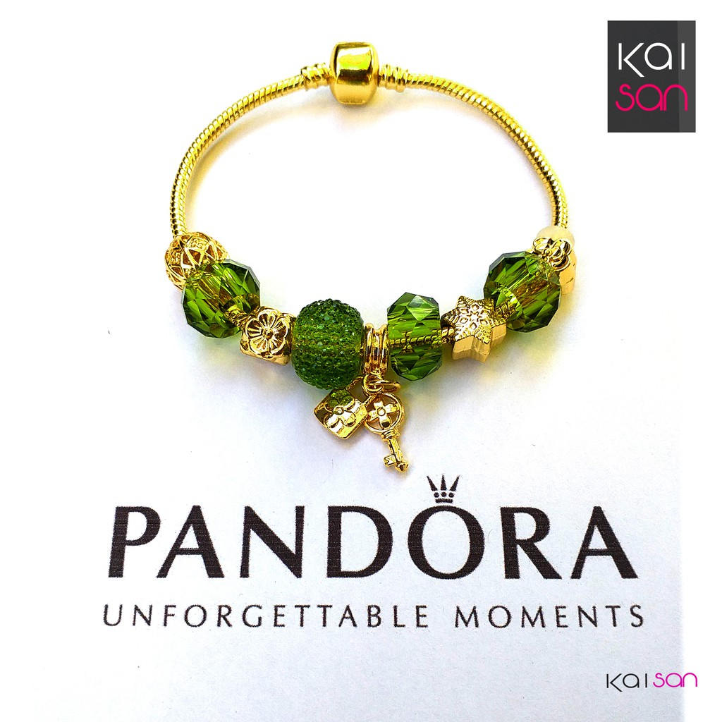 Gold Plated Pandora Bracelet With Charm Green Shopee Philippines