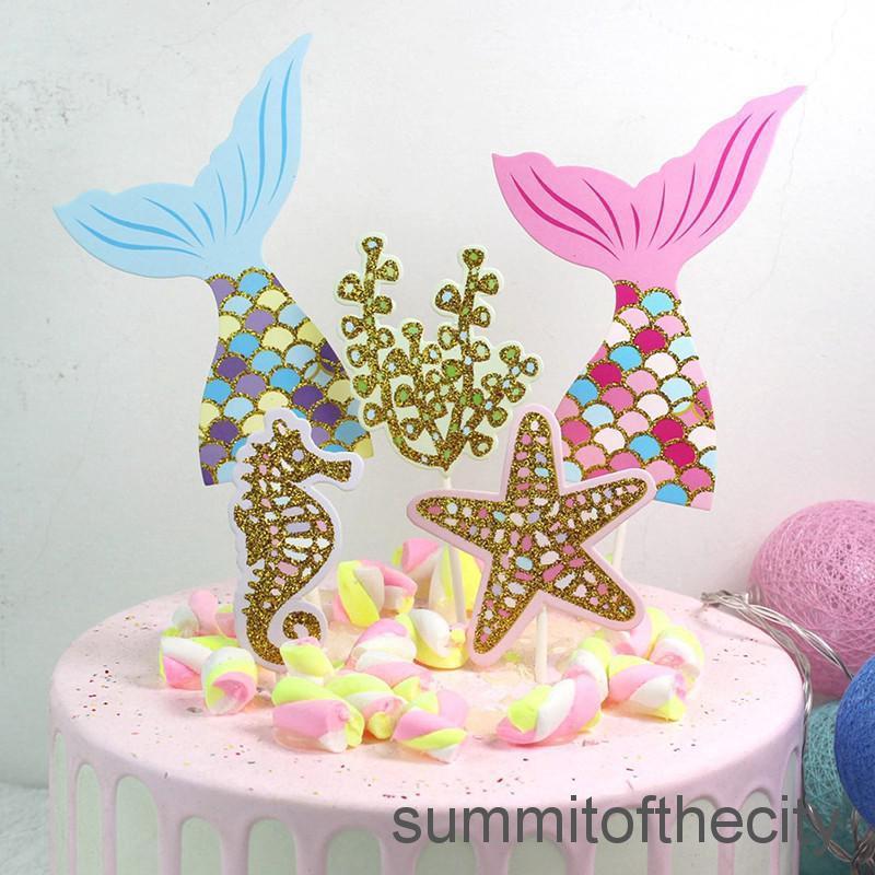 Fabulous Ysum 5Pcs Set Cute Mermaid Tail Starfish Coral Seahorse Cake Personalised Birthday Cards Akebfashionlily Jamesorg