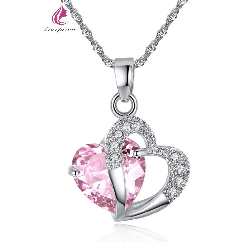 cf15c12252a veecans 925 Sterling Silver Round Necklace Pendant made with Crystal Cubic  Zirco