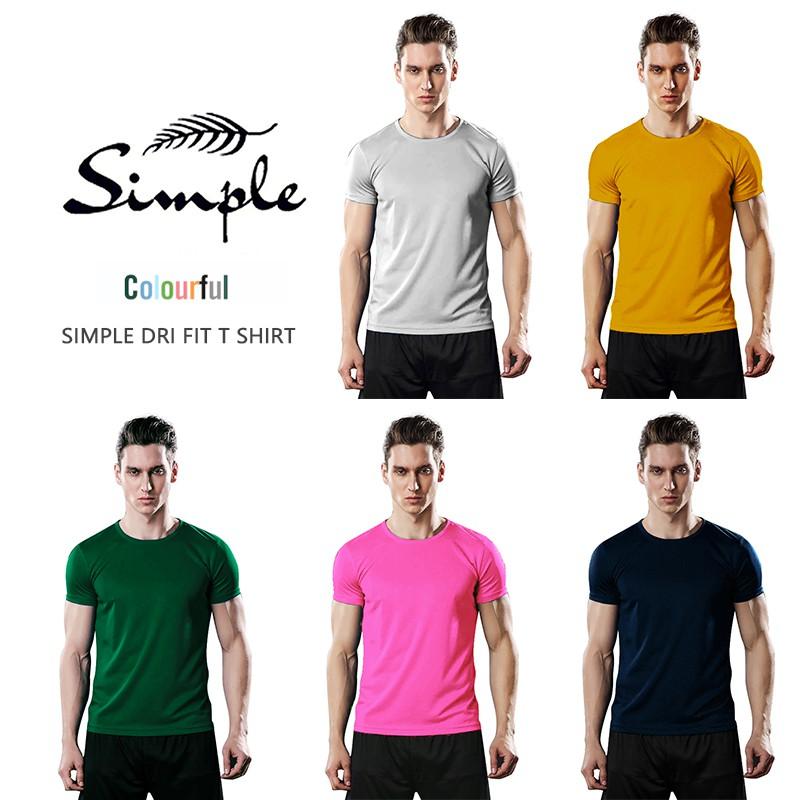 simple drifit t shirt Men & Women American size Plain Dark color top men s apparel Crew neck Round