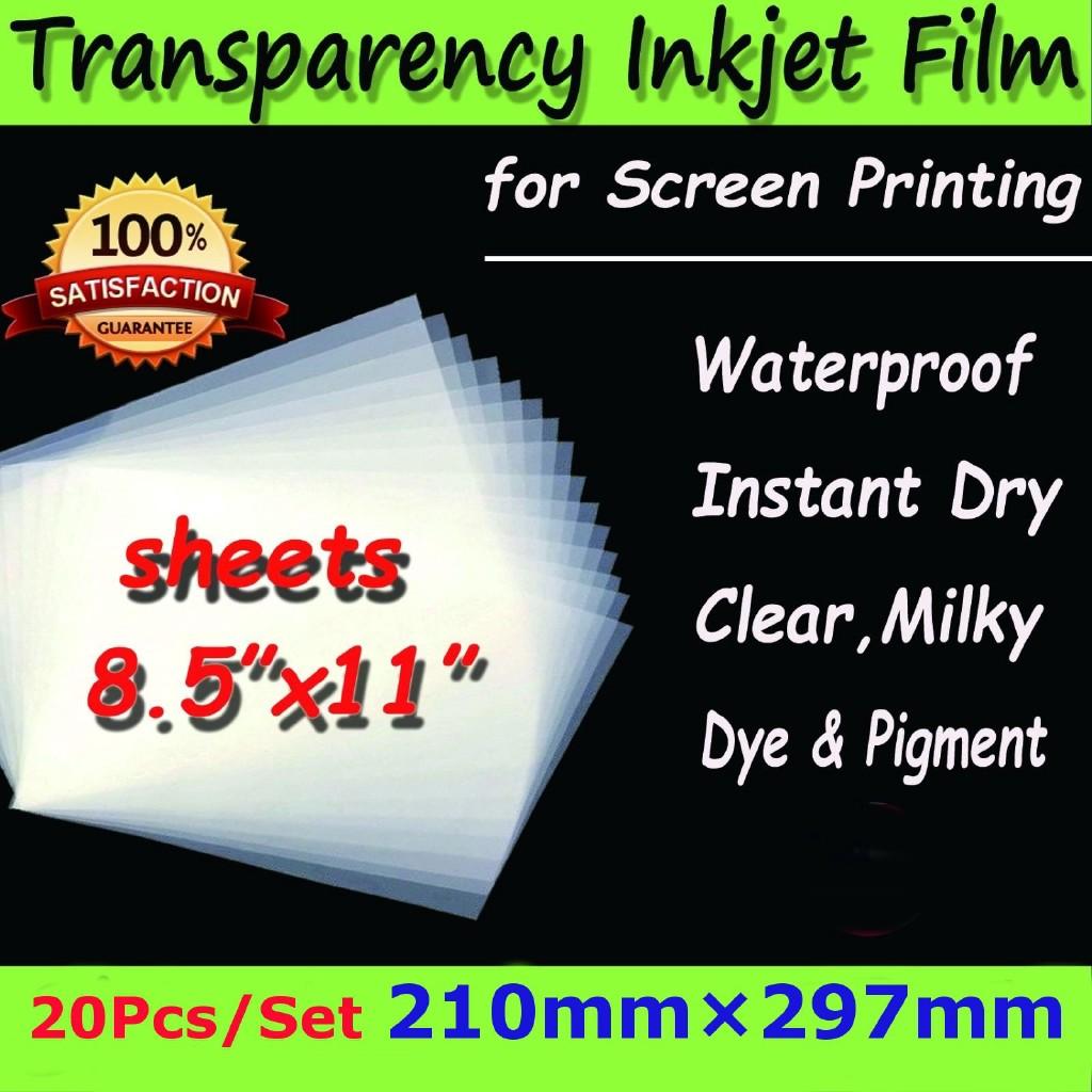 """Waterproof Inkjet Transparency Film 8.5/"""" x 11/"""" 300 Sheets"""