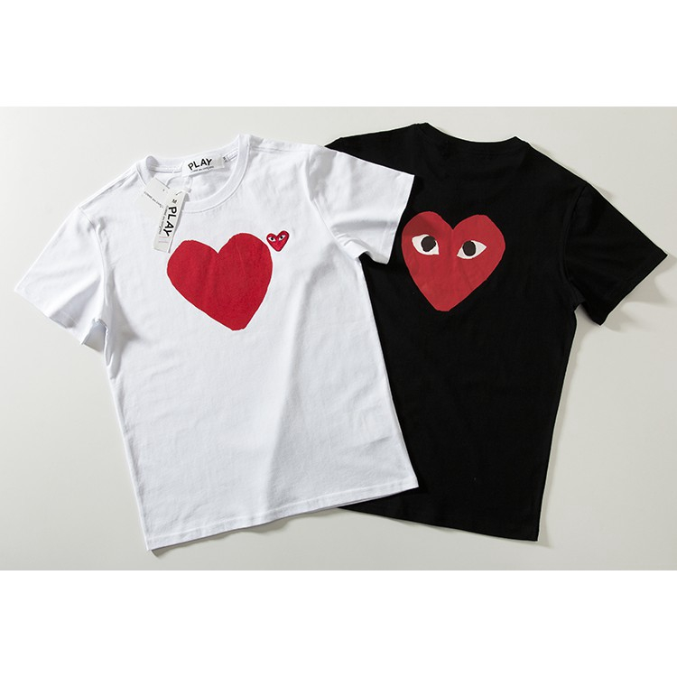 CDG Comme Des Garcons Love Short Sleeves Red Heart T-Shirt White