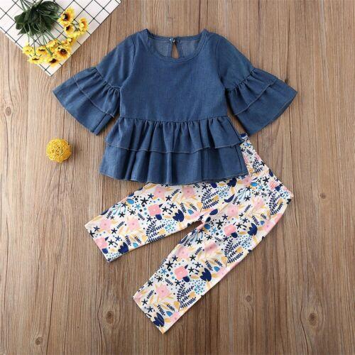 UK Toddler Kids Baby Girl Clothes Ruffle T-shirt Tops+Pants 2PCS Outfits Sunsuit